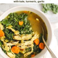 Pinterest pin for chicken and kale soup