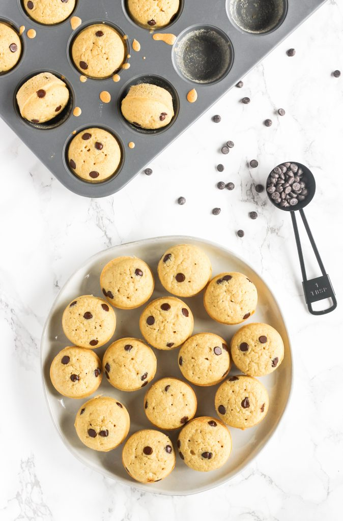 overhead view of mini chocolate chip muffins on round plate