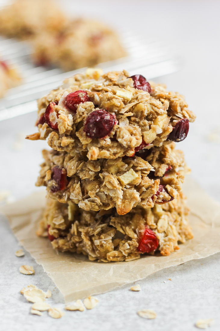 side view of 3 stacked cranberry apple breakfast cookies