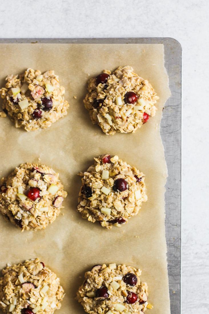 breakfast cookies on baking sheet before cooking