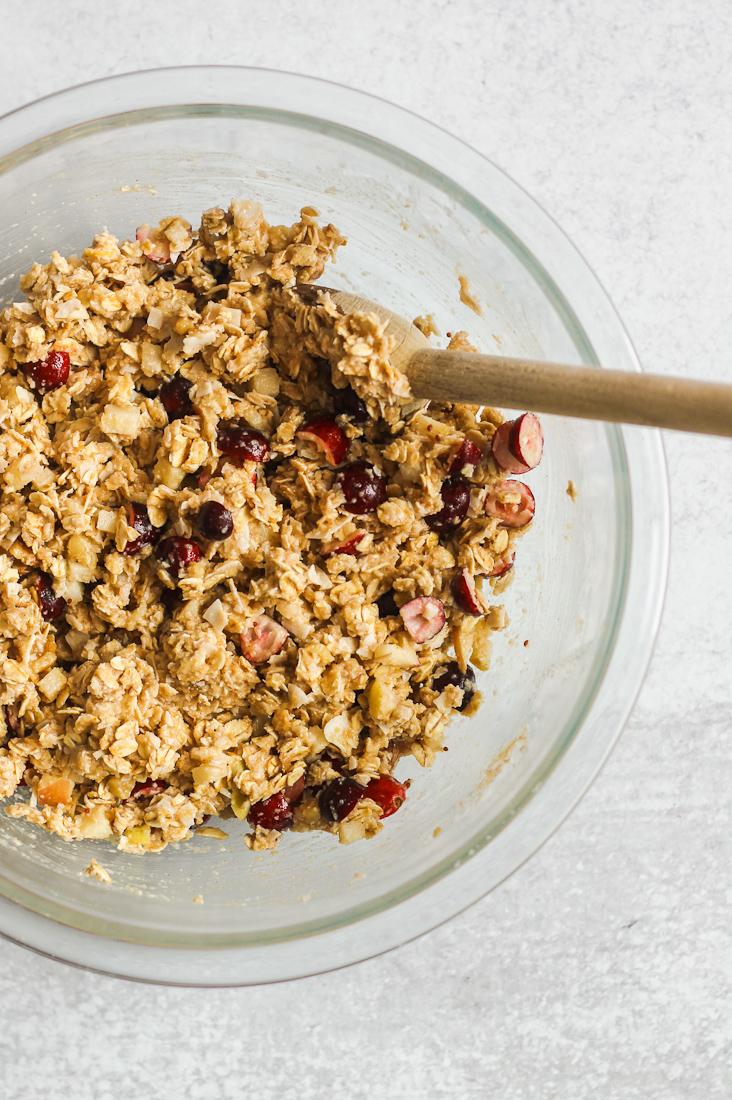 breakfast cookie ingredients in mixing bowl