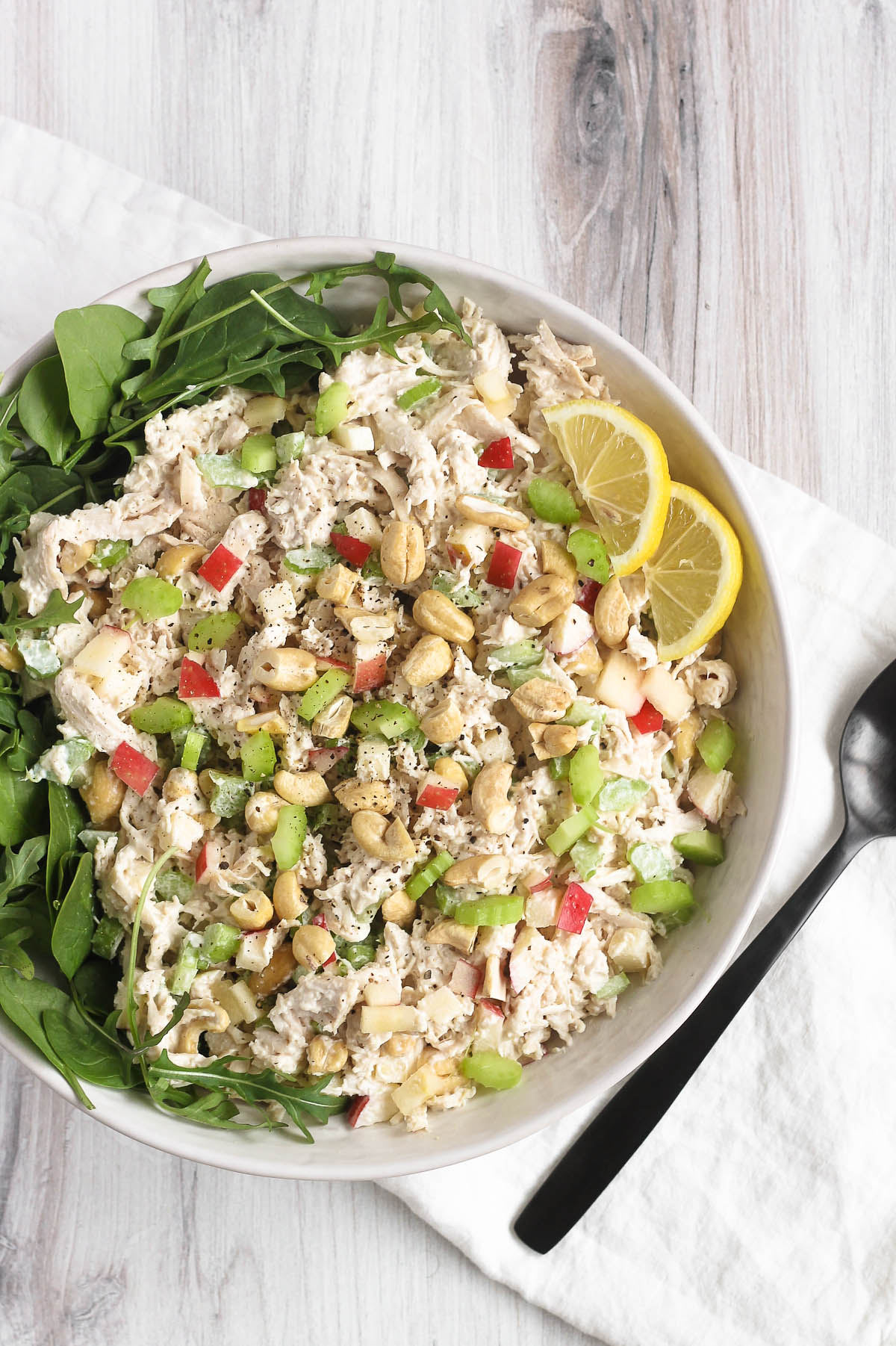 cashew chicken salad in serving bowl