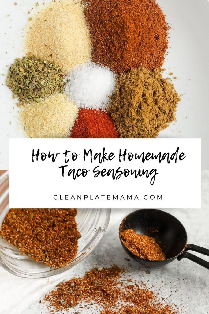 pinterest pin with two images; taco seasoning ingredients and taco seasoning mixed in mason jar