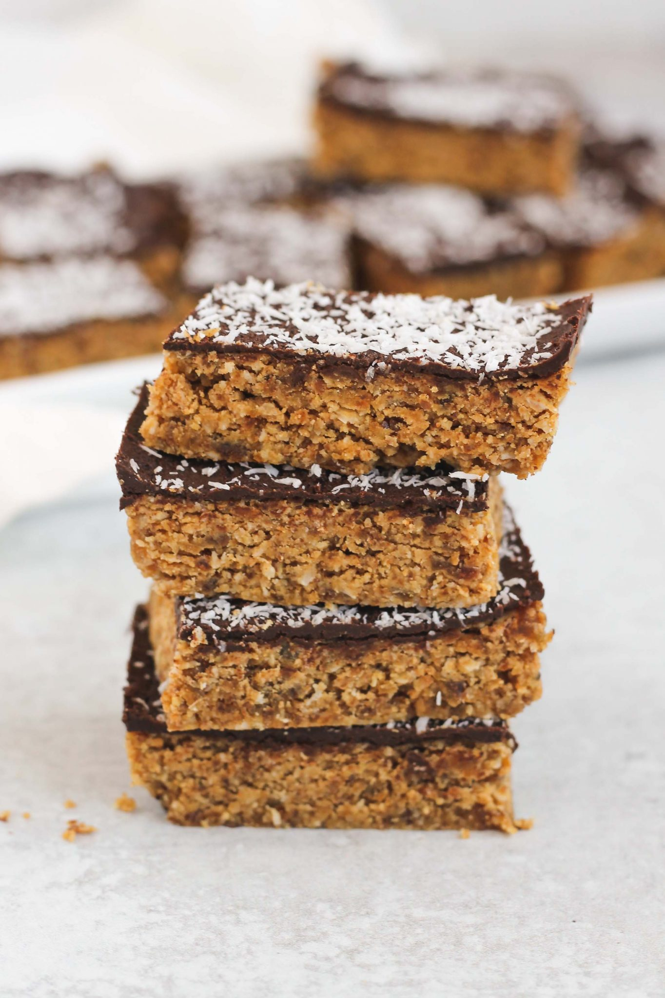 stacked no bake peanut butter oat bars