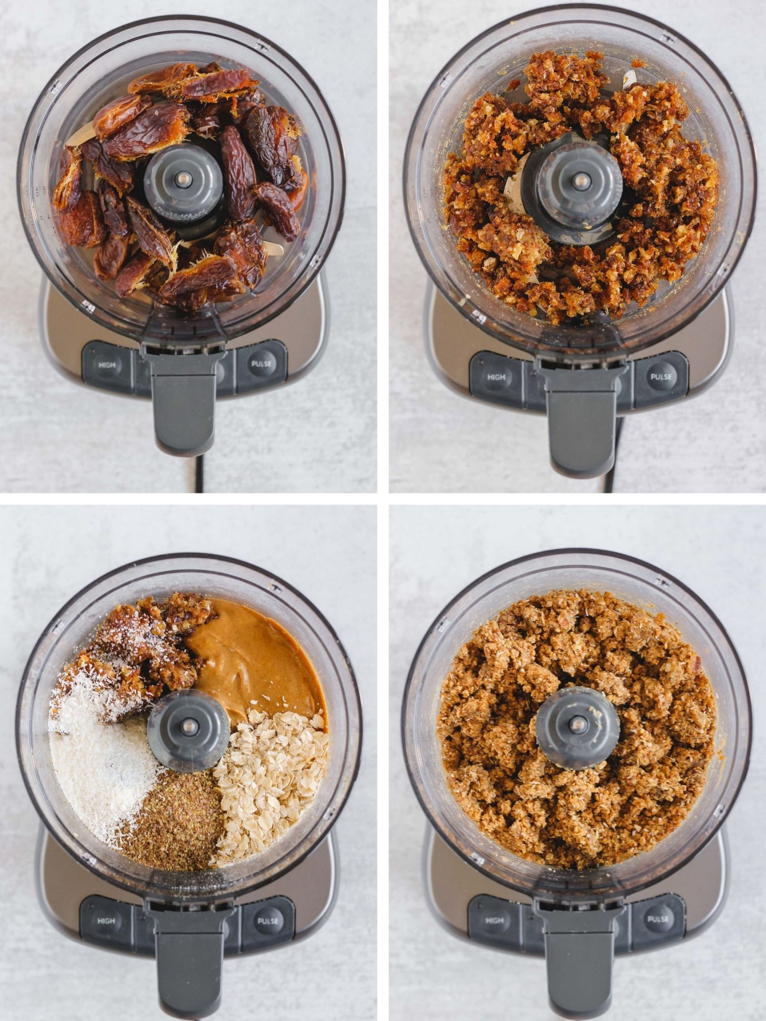 process photos of dates and additional ingredients being blended in food processor