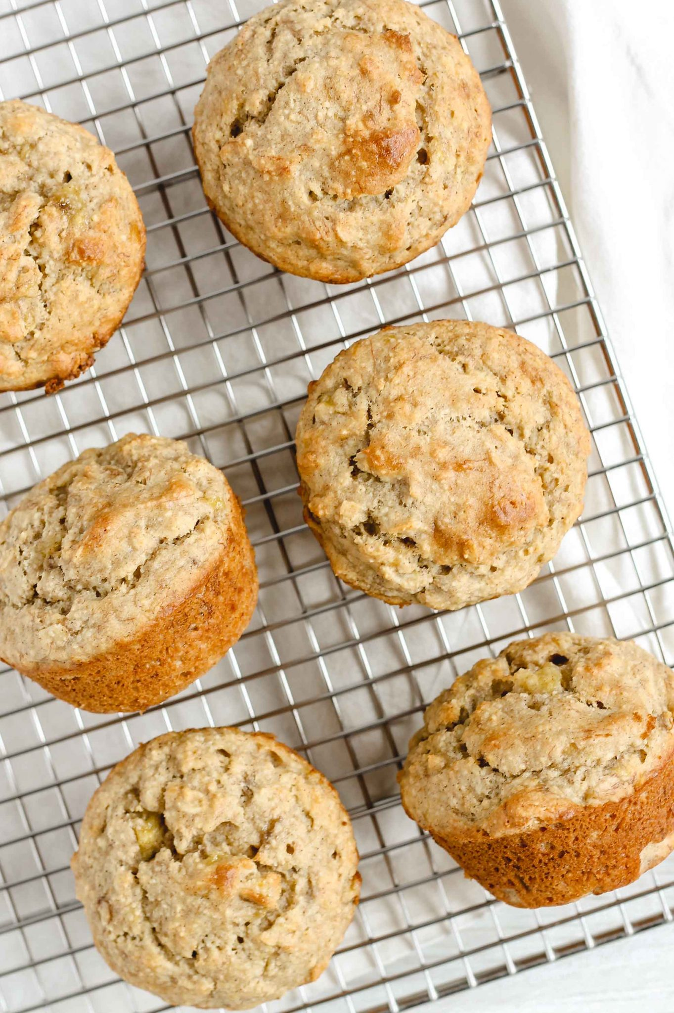 banana muffins on wire cooling rack