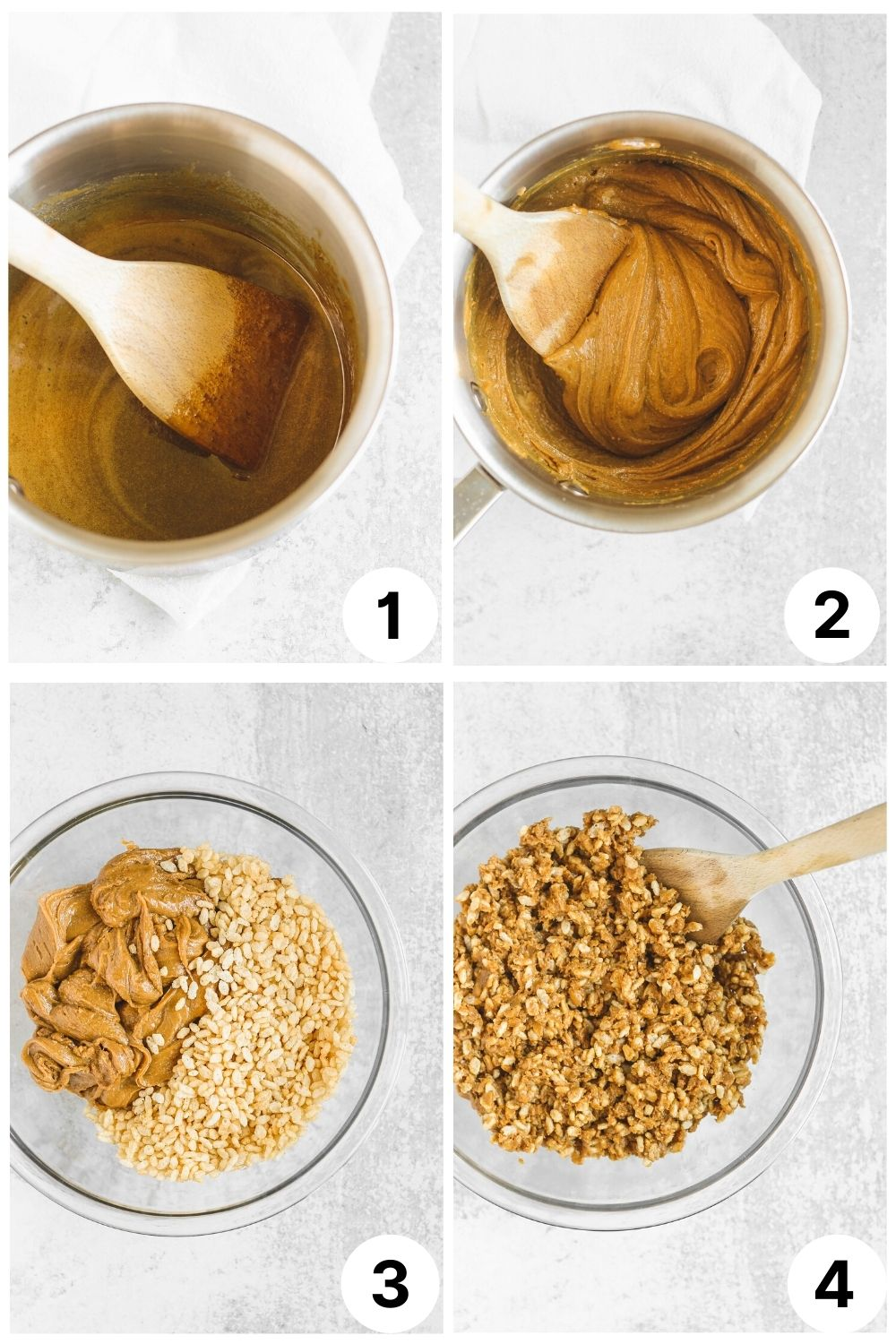 4 quadrants with step by step photos to show the making of the peanut butter krispie bars
