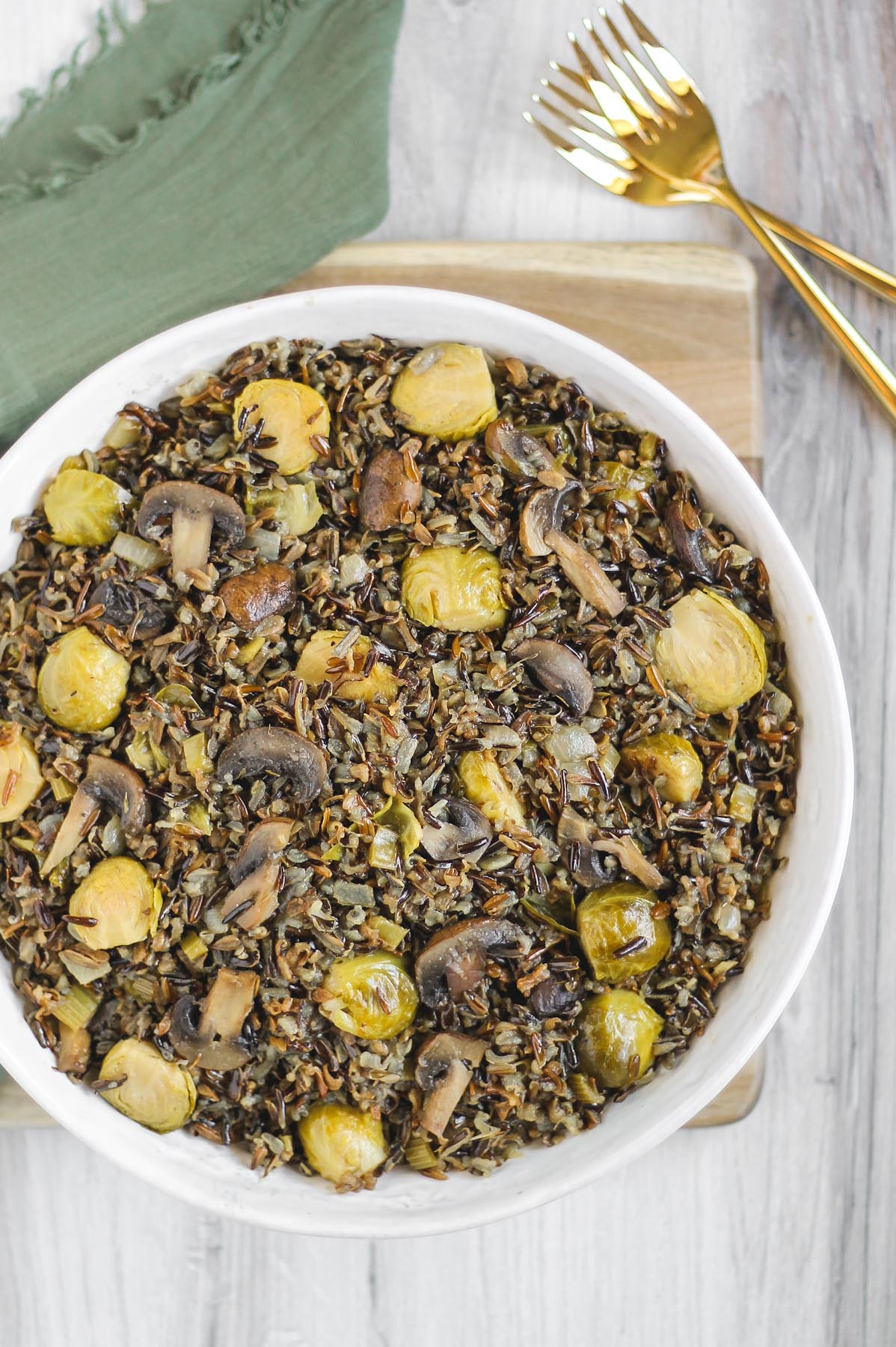cooked wild rice with Brussels sprouts and mushrooms