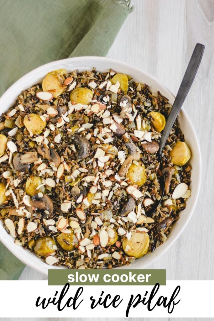 Pinterest pin for slow cooker wild rice pilaf