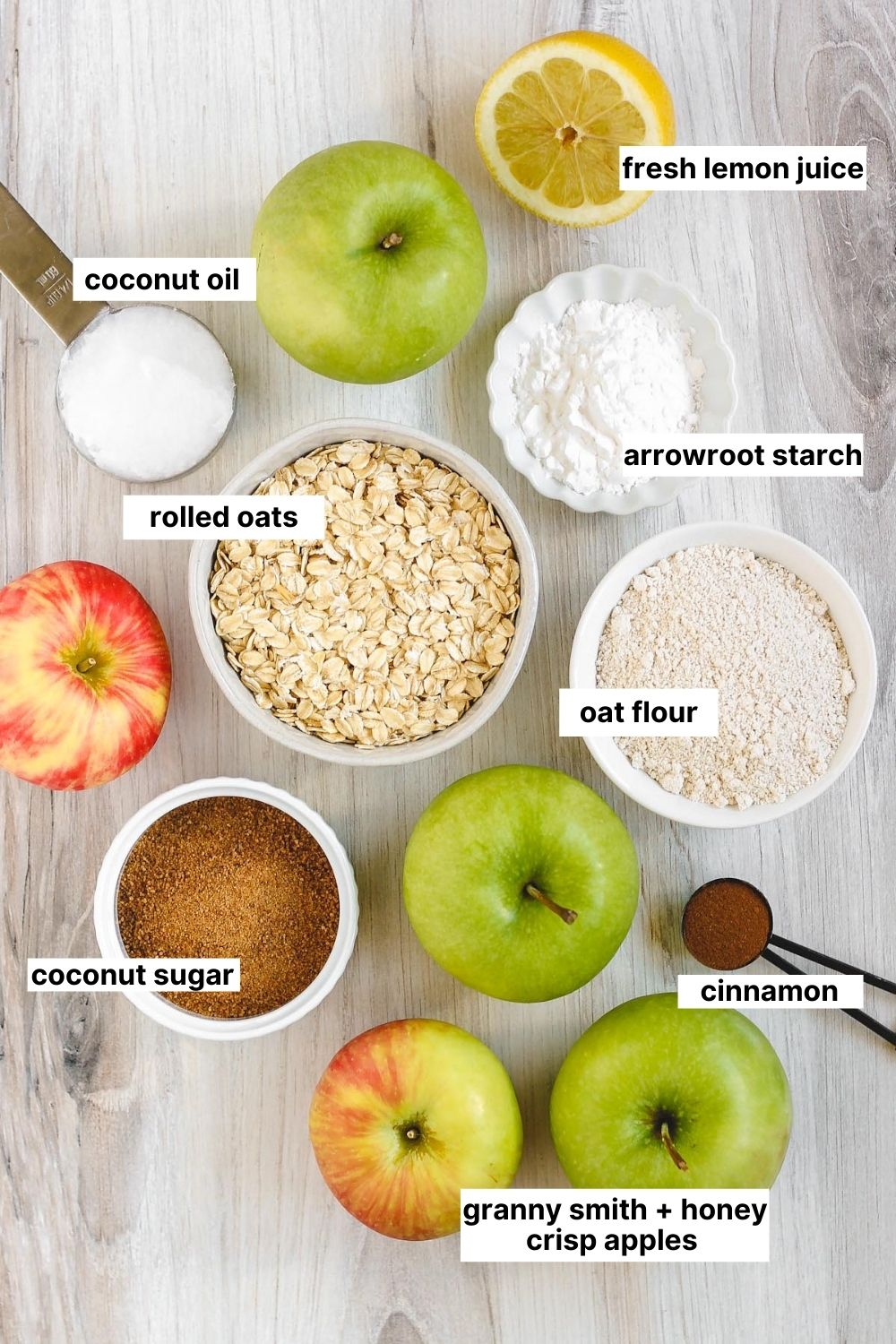 labeled ingredients that are used for this gluten free apple crisp recipe.
