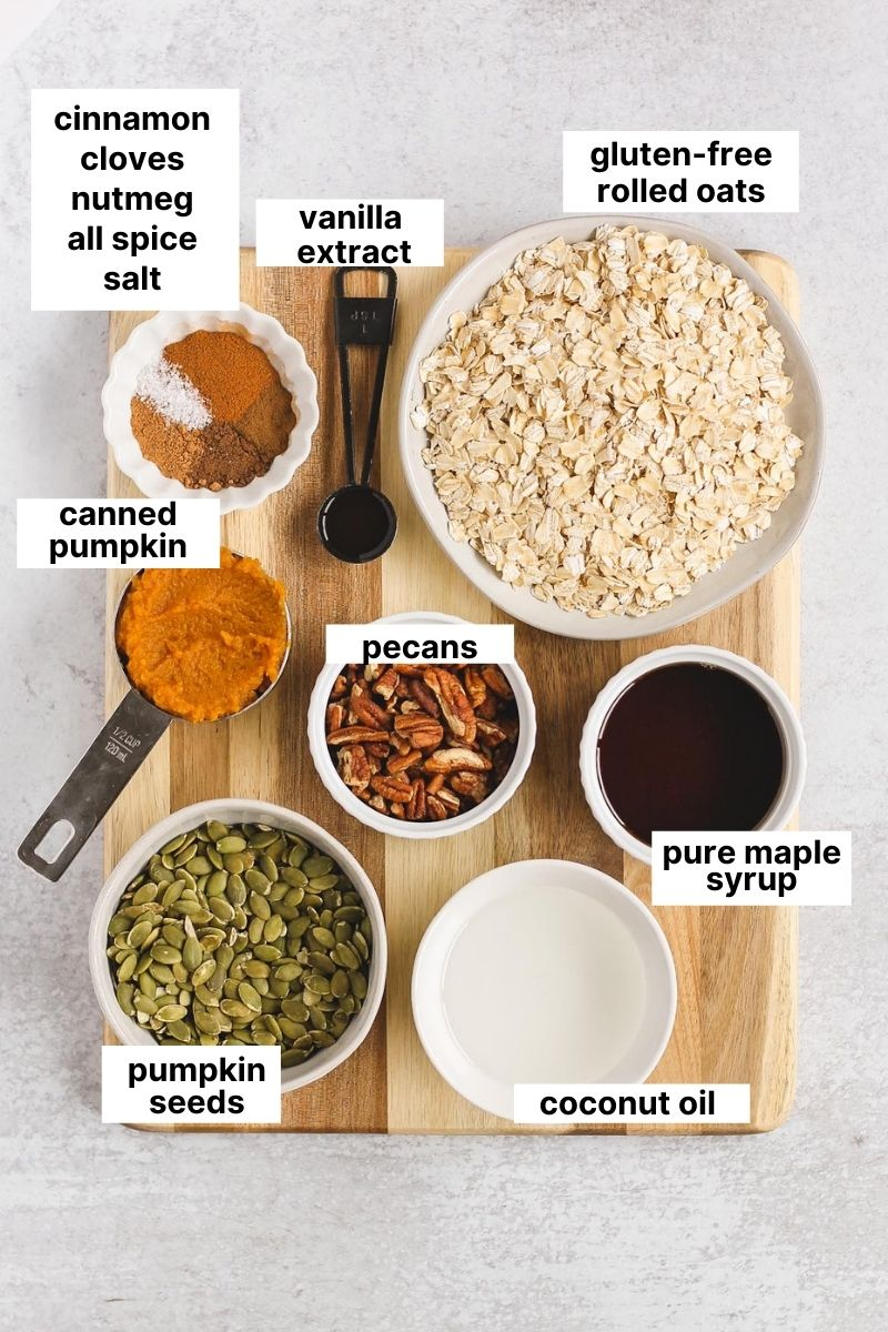 labeled ingredients that are used to make gluten-free pumpkin granola