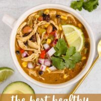 Pinterest pin for the best healthy southwestern chicken chili