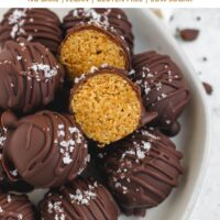 pinterest pin for chocolate covered peanut butter balls