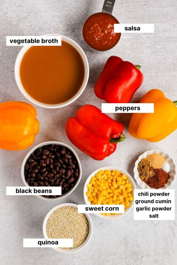 ingredients used for the vegetarian stuffed peppers