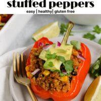 pinterest pin for vegetarian stuffed peppers