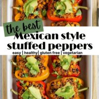 pinterest pin for Mexican style stuffed peppers
