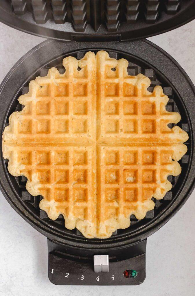 finished waffle in waffle iron
