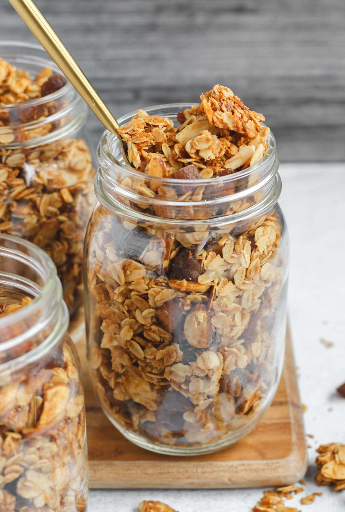 mason jars filled with granola