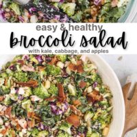 "Pinterest graphic for broccoli kale salad with text overlay ""easy & healthy broccoli salad"""