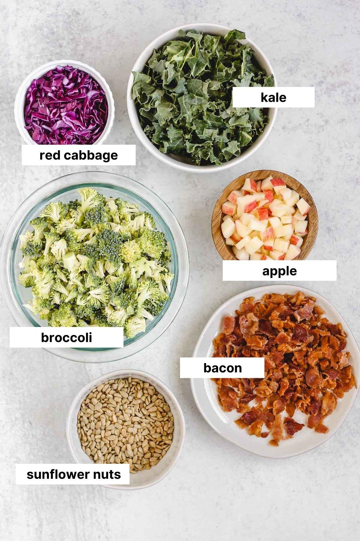 labeled ingredients for broccoli kale salad