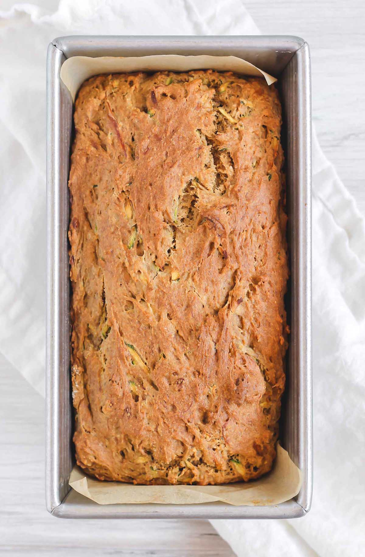 cooked zucchini bread in loaf pan