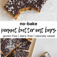 peanut butter chocolate bar with a a bite taken out and bars on a white plate with text overlay for Pinterest