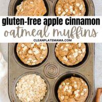 Pinterest pin for gluten-free apple cinnamon oatmeal muffins