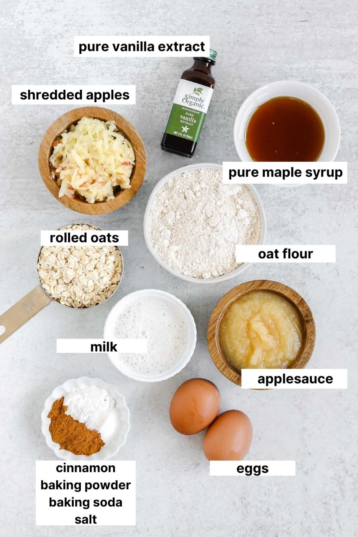labeled ingredients for apple cinnamon oat muffins