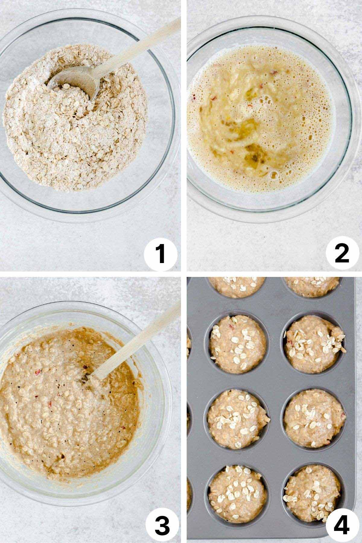 collage showing process shots of making muffins