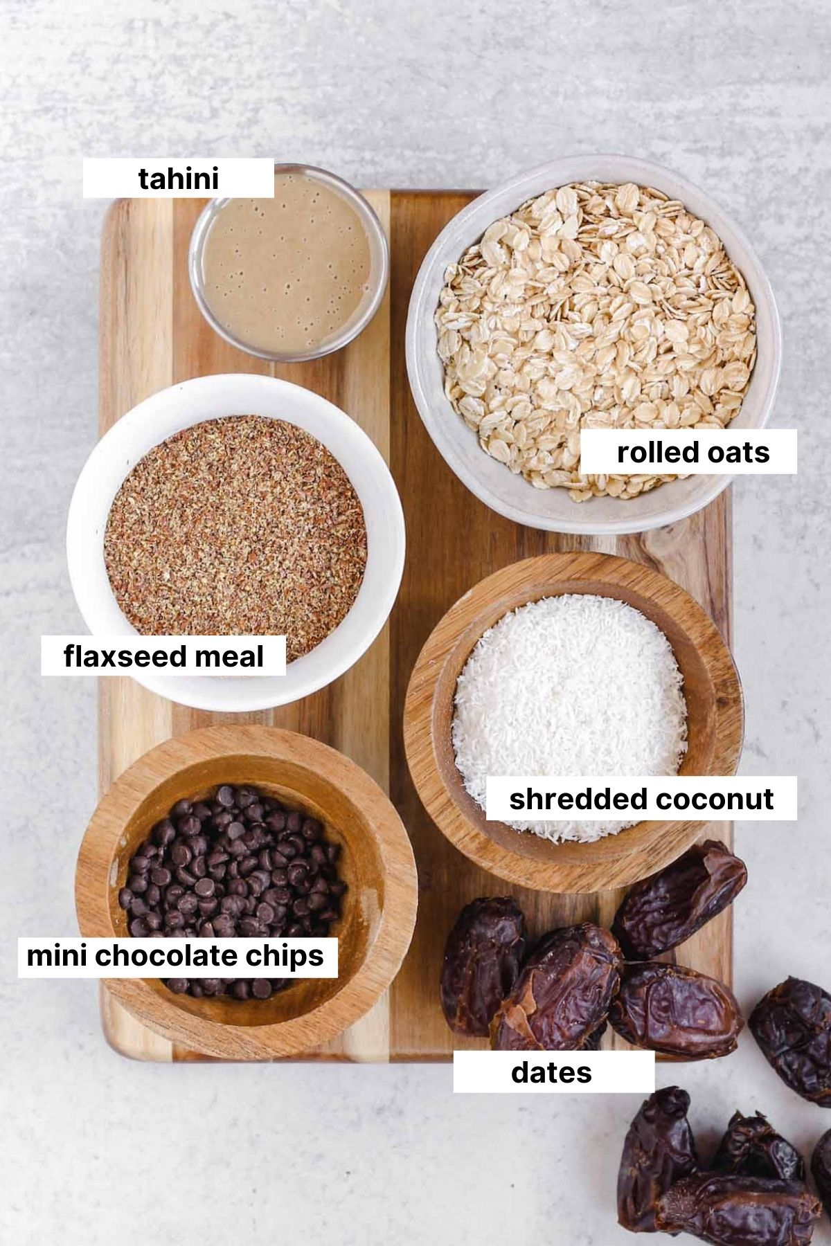 labeled ingredients used for recipe