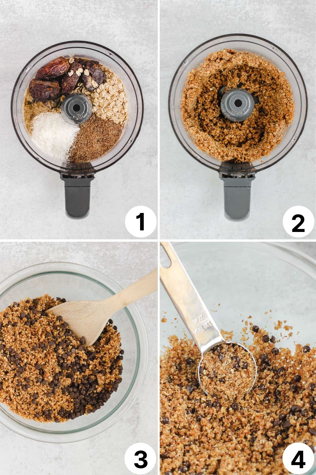 4 quadrants showing step-by-step process on how to make nut-free energy balls