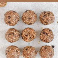 9 energy balls laid out in a square with text overlay for Pinterest