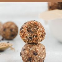 energy balls stacked 2 high with text overlay for Pinterest
