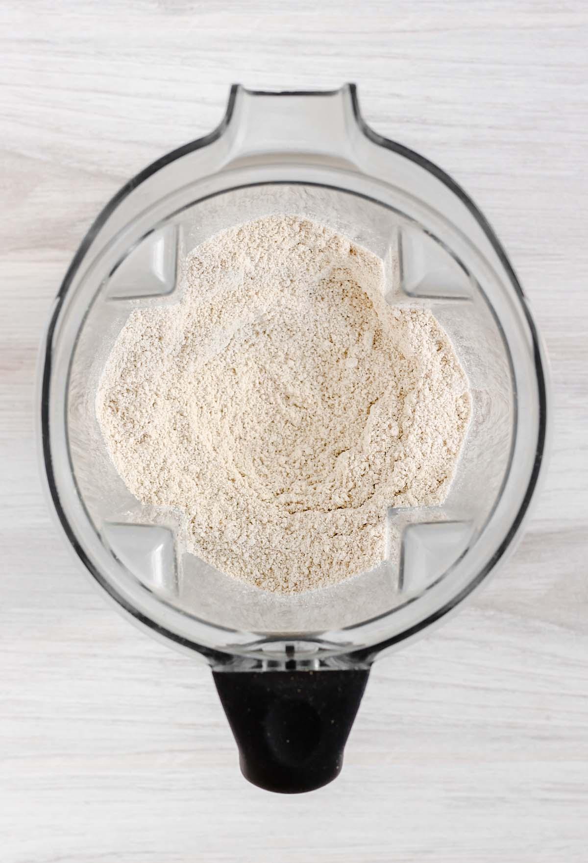 oat flour in a blender