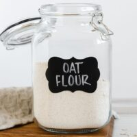 oat flour in a glass canister