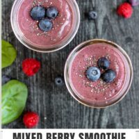 Pinterest pin for Mixed Berry Smoothie with Spinach