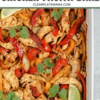 Easy one-pan chicken fajita bake Pinterest pin