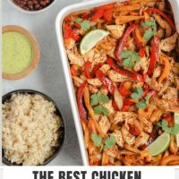 "Pinterest Pin with text overlay ""The Best Chicken Fajita Bake"""