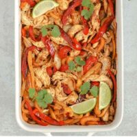 Pinterest pin for One-pan Chicken Fajita Bake