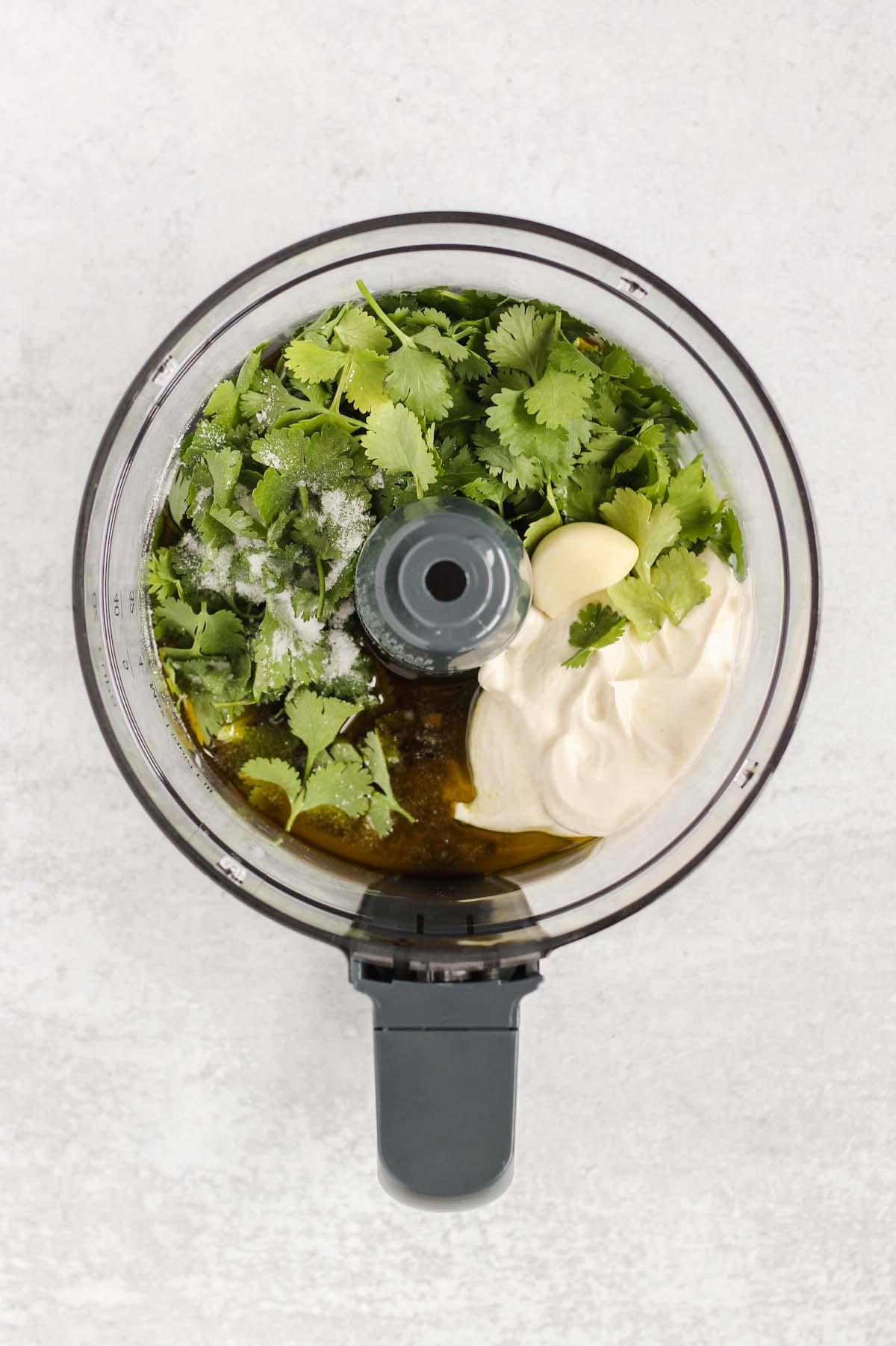 Yogurt, garlic, cilantro, salt, and olive oil in a food processor.