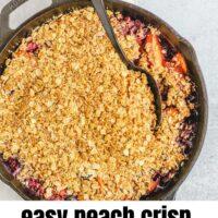Pinterest pin for easy peach crisp with blueberries