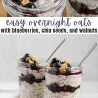 pinterest pin for easy overnight oats with blueberries