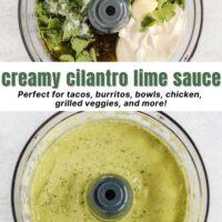 Pinterest pin for creamy cilantro lime sauce