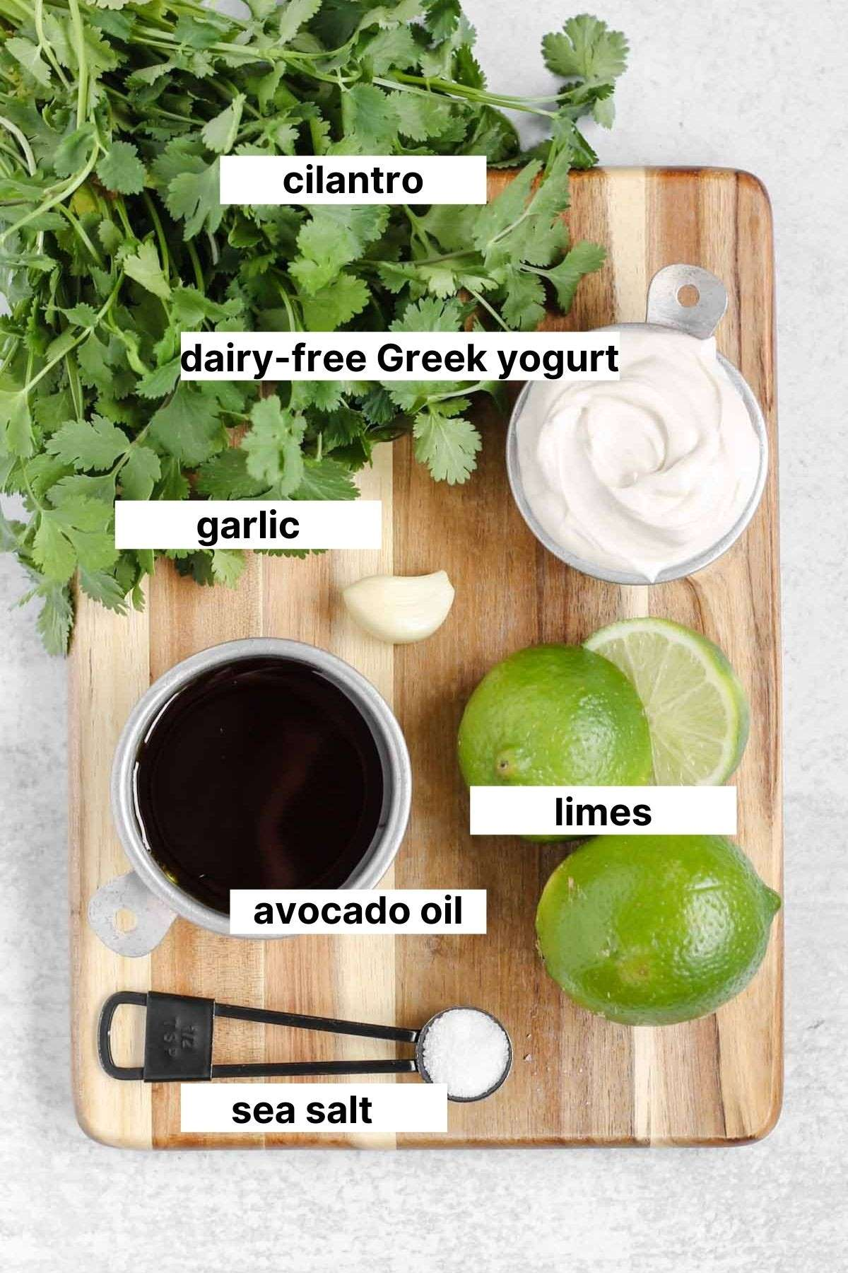 labeled ingredients used in dressing
