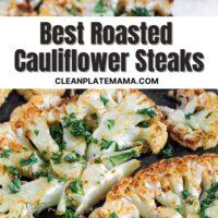 Pinterest pin for Best Roasted Cauliflower Steaks