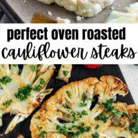 Pinterest long pin for oven roasted cauliflower steaks