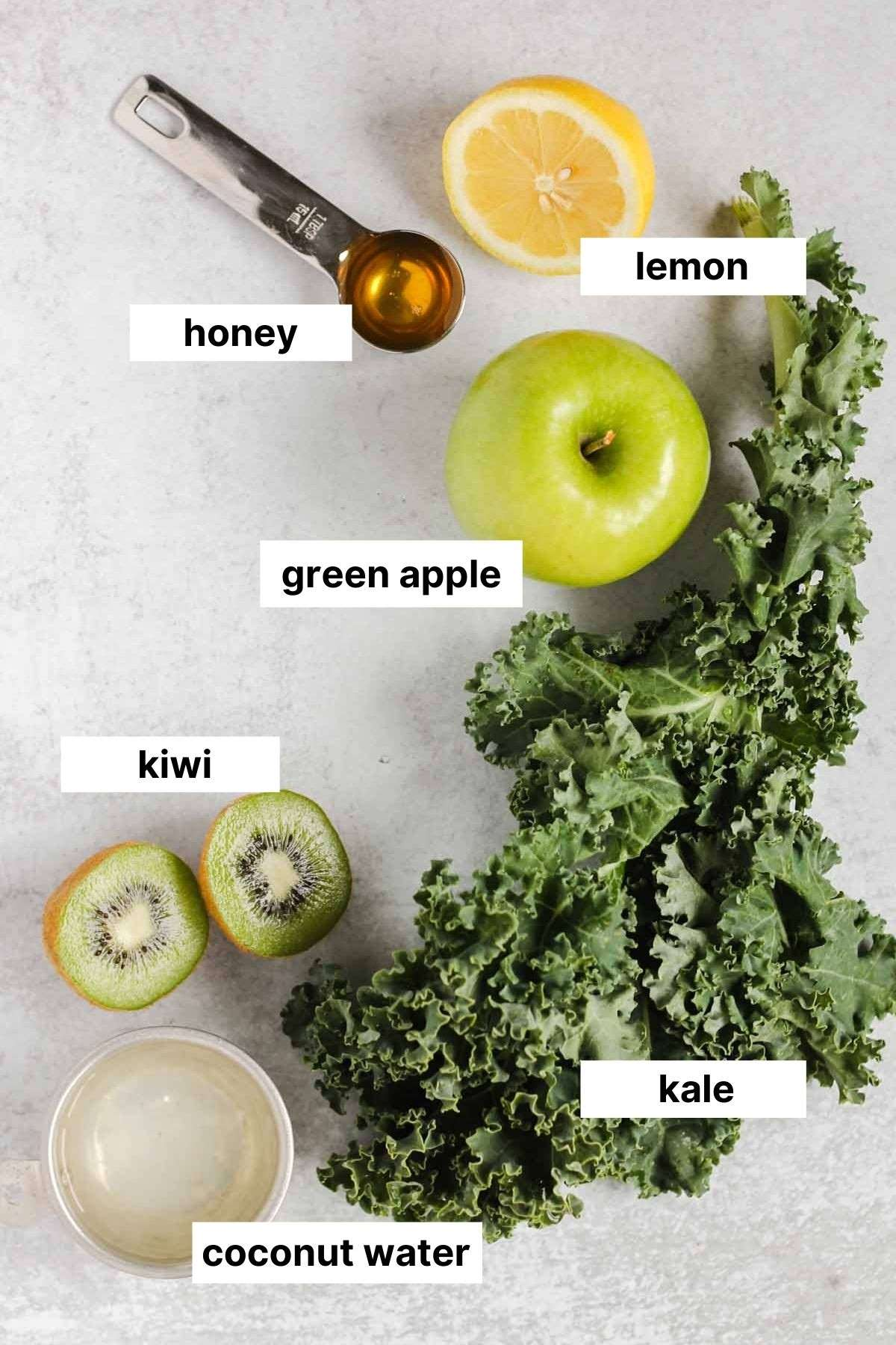 Labeled ingredients for kale smoothie.