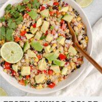 Pinterest pin for zesty quinoa salad