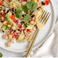 Pinterest pin for southwest quinoa salad with lime vinaigrette