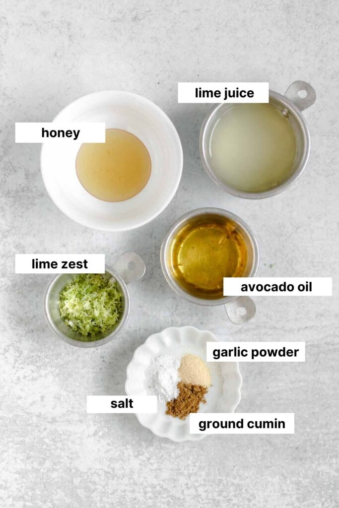Gallery image of labeled ingredients for both quinoa salad and the lime vinaigrette.